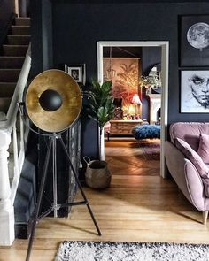 Pink Sofa, Dark Walls, Hygge, Happy Friday, The Darkest, Everything, Photo Wall, Lounge, Living Room