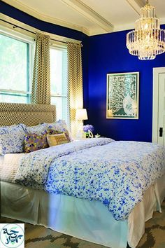 Blue Bedroom interior: contemporary romance | royal blue bedrooms, blue