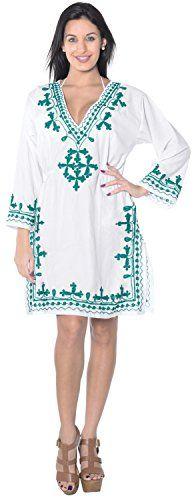 La Leela Embroidered Rayon Swimsuit V Neck Top Cover Up Tunic Kaftan White Green La Leela http://www.amazon.com/dp/B00V3CZLLM/ref=cm_sw_r_pi_dp_QPnaxb15TW2YV