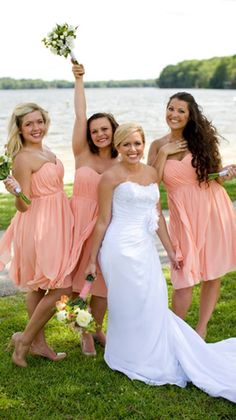 Pretty peach bridesmaid dresses from Weddington Way make this summer wedding look so rich and colorful!