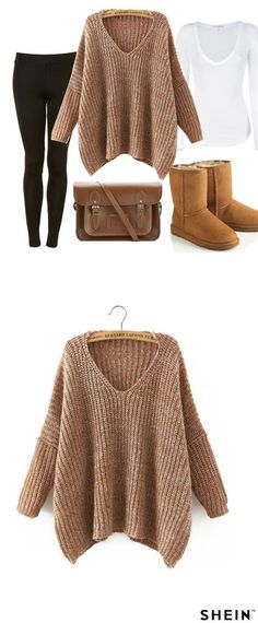 awesome Brown V Neck Batwing Sleeve Loose Sweater...