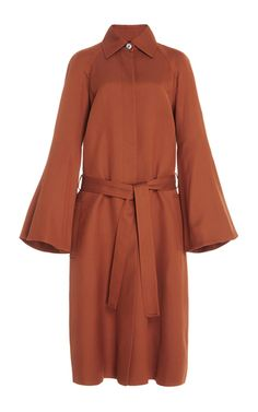 Brown Bell Sleeve Twill Trench Coat by Rosetta Getty | Moda Operandi