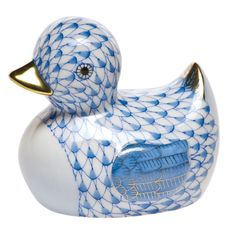 Herend Figurines Prices | Herend Porcelain Rubber Ducky Figurine Blue Fishnet at Herendstore