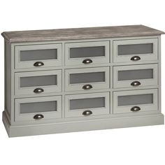 The Shabby Chic Grey 9 Drawer Chest is part of a stunning Lyon collection. This furniture is all handmade by highly skilled craftsman and then hand painted in a gorgeous distressed pigeon grey finish. Deep drawers with frosted glass windows offer ple Grey Chest Of Drawers, Bedroom Chest Of Drawers, King Bedroom Sets, Large Bedroom, Frosted Glass Window, Shabby Chic Grey, Photo Room, Wooden Wall Panels, Hill Interiors