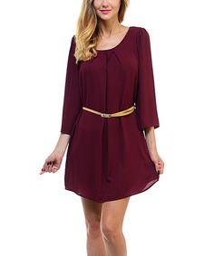 Wine Belted Cutout Dress