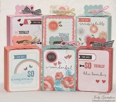 Artiste Cricut Gift box made with Heartstrings paper pack, Heartstrings Picture My Life card Hopscotch paper pack, Hopscotch Picture My Life card and You're the Bomb stamp set - so cute