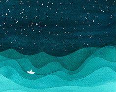 Aquarell Gemälde Giclee print Kunst blaugrün Meer von VApinx