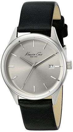 Kenneth Cole New York Women's 'Classic' Quartz Stainless Steel and Black Leather Dress Watch (Model: 10025930) ** Click image to review more details.
