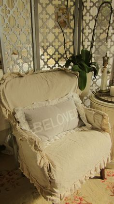 shabby chair cover and sweet pillow