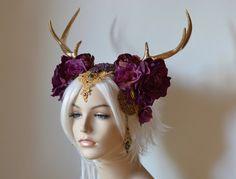Royal Stag Headdress, purple and gold, fantasy wedding, bridal crown, cosplay, halloween, costume, fairytale, burning man, deer, antlers