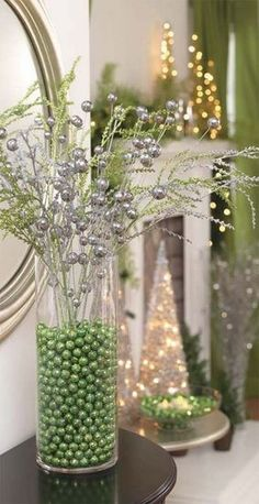 christmas ideas- fill vases with olid color mardi gras beads