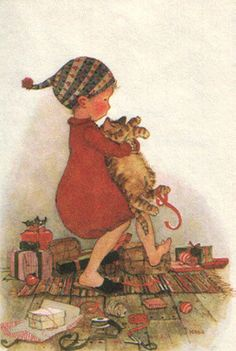 I would love some Christmas cards with this on. Holly Hobbie, Christmas Cats, Vintage Christmas, Illustrations, Illustration Art, Christmas Card Pictures, Retro, Sarah Kay, Christmas Illustration