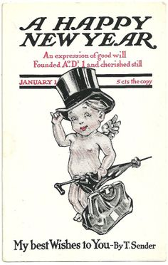 Vintage New Years Eve Postcard Baby Cherub In by imagesofthepast, $5.00