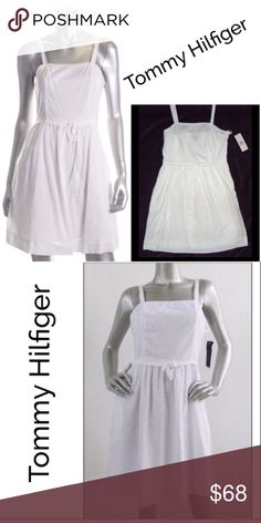 ☀️Summer Sale☀️ Hillfiger Swiss Dot White Dress This pretty white sundress by Tommy Hilfiger features a Swiss dot pattern fully lined, hidden side zipper, ribbon spaghetti straps, defined waist with a pretty bow tie, lace trim around top, hidden side pockets is an added bonus Tommy Hilfiger Dresses Mini