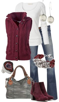 Cute Outfit - Sweater, Blouse, Jeans, Handbag, Shoes, Scarf, Hat: