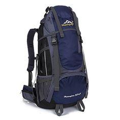 Fun Man 55L Backpacks Outdoor Backpack Travel Backpack Water Resistant  Hiking Rucksack Bag Dark Blue   0d25da714b46e