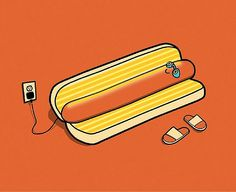 You'll never look at hotdogs the same. Illustration by BucketFeet artist David Soames.