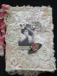 Shabby Chic Fabric Journal / Book Altered Art by KISoriginals
