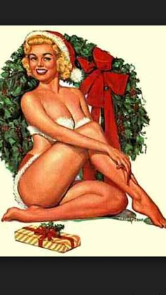 Pin-up blond girl with christmas wreath and a gift postcard - holiday card diy personalize design template cyo cards idea Vintage Christmas Cards, Merry Christmas, Christmas Girls, Christmas Time, Christmas Bunny, Christmas Music, Funny Christmas, Christmas Pictures, Vintage Christmas