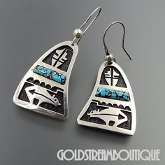 HOPI STERLING SILVER OVERLAY LIGHTNING BEAR TURQUOISE HOOK DANGLE EARRINGS