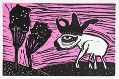 Pink Walk linocut print by rebpeters on Etsy