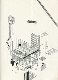 Andrew DeGraff's Unfinished Construction Sites Construction Drawings, Construction Design, Construction Business, Construction Birthday, Architecture Concept Drawings, Architecture Details, Axonometric Drawing, Urban Design Concept, Isometric Design