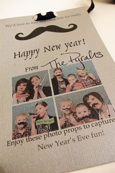 "I've come up with a fun gift to give your friends, family and neighbors for New Years Eve! A photo prop ""kit"" with a fun card and saying!"