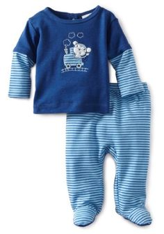 ABSORBA Baby-Boys Newborn Footed Pant Set, Navy Blue, 3-6 Months - Boys two piece footed pant set Product Features  100% Cotton Back snap closure
