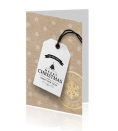 Moderne kerstkaart bedrijf bruin label