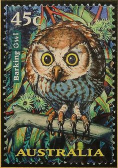 1997 - Postage Stamp from Australia - Barking Owl Owl Art, Bird Art, Postage Stamp Design, Photo D Art, Love Stamps, Vintage Stamps, Stamp Collecting, My Stamp, Illustrations