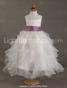 Ball Gown Scoop Floor-length Pearls Satin Organza Flower Girl Dress - USD $ 99.99