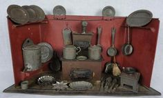 Early Tin Plate Kitchen Nuremberg 1883 Antique 19th Century with Fittings