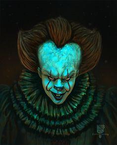 It 2017 - Pennywise Arte Horror, Horror Art, Scary Movies, Horror Movies, Acid Art, Pennywise The Dancing Clown, Horror Icons, Creepy Clown, Evil Clowns