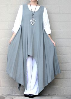 OH MY GAUZE Cotton Drip Hem SIDEKICK TUNIC Long Vest 1 (M/L/XL) 2 (1X/2X) STEEL