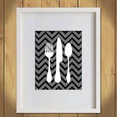 Kitchen Art Print  Black and Gray Chevron by MadeForYouPrints, $14.95