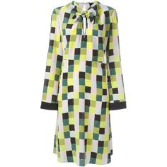 Emilio Pucci Checked Dress (30 115 UAH) ❤ liked on Polyvore featuring dresses, green, silk dress, emilio pucci, checked dress, green dress and emilio pucci dress