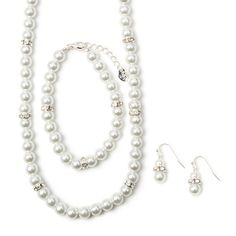 Pearl and Crystal Eternity Band Necklace, Bracelet and Drop Earrings Set of 3 | Icing