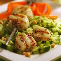 Chile-Crusted Scallops with Cucumber Salad - EatingWell.com