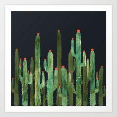 Cactus Four at night Art Print by rodrigomffonseca Buy Cactus, Cactus Plants, Blue Magic, Wall Tapestry, Design Inspiration, Art Prints, Night, Decor, Art Gallery