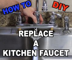 How to Replace a Kitchen Sink Faucet: Has your kitchen faucet sprung a leak and your tape job just isn't cutting it? Today, I'm going to show you how you can save some money replacing your kitchen faucet in less than an hour. Replacing Kitchen Sink, Kitchen Sink Storage, Farmhouse Sink Kitchen, Kitchen Sink Faucets, Bathroom Faucets, Diy Kitchen, Replace Bathroom Faucet, Awesome Kitchen, Kitchen Reno