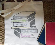 Hey, I found this really awesome Etsy listing at https://www.etsy.com/listing/161267746/jane-austen-book-tote-bag-stack-literary