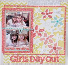 Kristen Swain, Cricut, Expression, scrapbook, scrapbooking, layouts, crafts, paper crafts, diecuts, single page, layout, Paper Lace, Artiste, girls, layout,