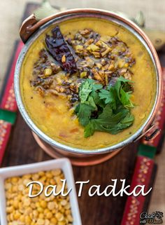 Dal Tadka - a flavorful combination of 3 lentils cooked with onion, tomatoes & Indian spices. Great with Indian breads or rice! [can be vegan]