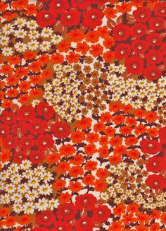 Vintage 1970s Orange Flower Garden French Fabric on Etsy, Sold