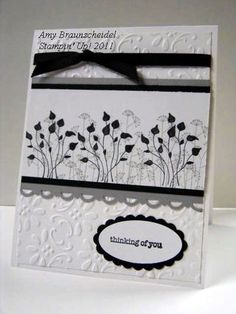 handmade card ... black and white ... Pocket Silhouettes  ... pretty card ... clean design ... Stampin' Up!