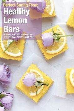 Fresh vegan lemon bars both tangy and creamy, and made protein-rich, an easy recipe for a fresh citrus dessert. Also vegan, dairy-free and gluten-free. Healthy Vegan Breakfast, Healthy Vegan Desserts, Vegan Dessert Recipes, Whole Food Recipes, Healthy Chocolate, Vegan Treats, Chocolate Recipes, Vegan Food, Cacao Recipes