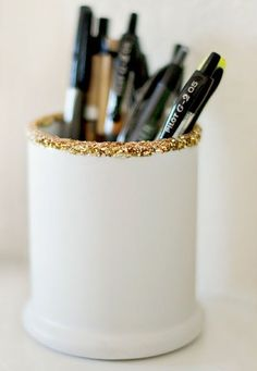 Glitter pen holder. Do this but with the soup cans...maybe glue fortune cookie-fortunes to it