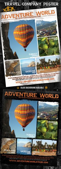 Adventure World Travel Company Posteris stylish advertisement poster, with grunge photo frames of different size, created to show different wonderful pieces of our beautiful planet. All photos that you can see on preview were taken bu Subtropica during our tri