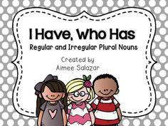 I Have, Who Has-Regular and Irregular Plural Nouns {FREEBIE}