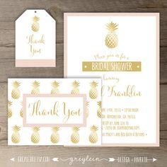 Gold Pineapple Bridal Shower Invitations • Black White Gold Pink • DIY Printable Invitation and Thank You Package • by greylein
